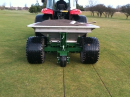Shelton 3 tonne gravel band drainer on golf green rear view
