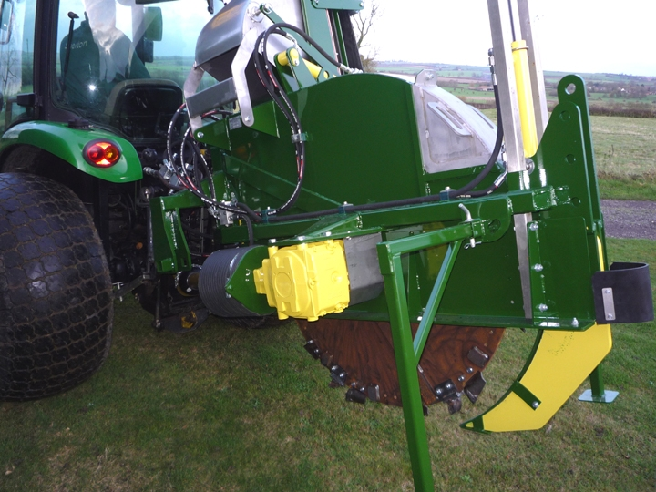 Shelton supertrencher 450 hitched to tractor close up