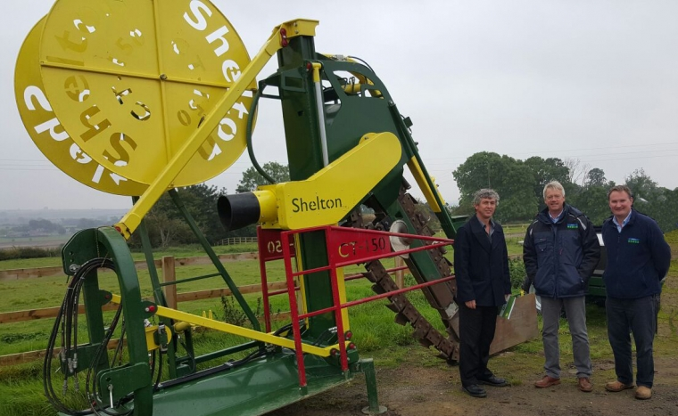 Jason Hatton from Sustainable Turf & Ag Equipment with Mick Claxton and Richard Clark from Shelton Drainage