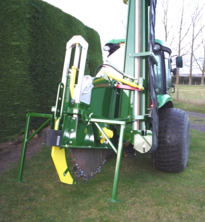 Shelton Supertrencher 450 hitched to tractor rear view