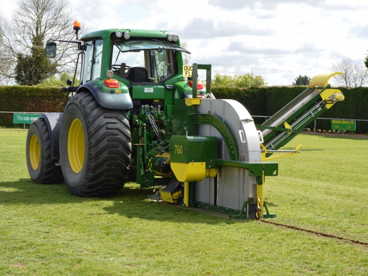 Supertrencher+ 760 demonstrating at Turf Maintenance Live event