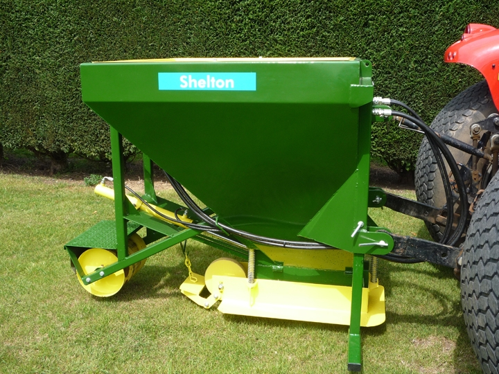 Shelton Sand Placement Hopper hitched to tractor side view